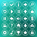 Yellow game icons buttons. Icons, interface, ui Royalty Free Stock Photo