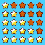 Yellow game rating stars icons buttons Stock Photography
