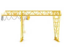 Yellow gantry bridge crane Royalty Free Stock Image