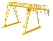 Yellow gantry bridge crane, half-turn Stock Photos