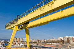 Yellow Gantry Crane Stock Photography