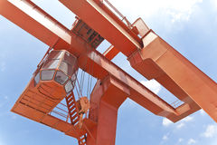 Yellow gantry crane Stock Photos