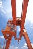 Yellow gantry crane Stock Photo