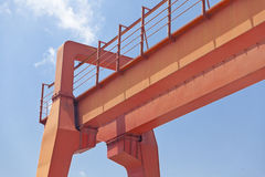 Yellow gantry crane Royalty Free Stock Images