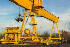 Yellow gantry crane - Poland. Stock Image
