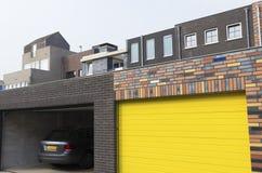 Yellow garage door royalty free stock photos