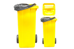 Yellow Garbage bins isolated on white Royalty Free Stock Photography