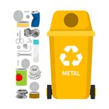 Yellow garbage can with metal trash. Yellow garbage can with metal garbage elements, vector illustration Stock Photography