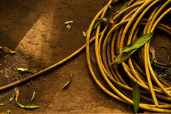 A yellow garden hose Royalty Free Stock Photos