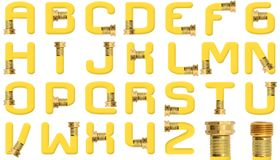 Yellow Garden Hose Alphabet Stock Image