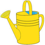 Yellow garden watering can Royalty Free Stock Images