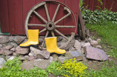 Yellow gardener rubber boots in farm near old wheel Royalty Free Stock Image