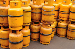 Yellow gas cylinder Stock Photography
