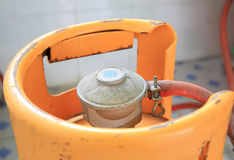 Yellow gas cylinder Royalty Free Stock Image