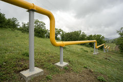 Yellow gas lines in mountains of Crimea. Stock Photos