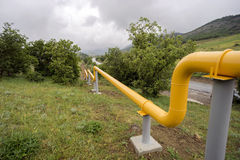 Yellow gas lines in  mountains of Crimea. Royalty Free Stock Image