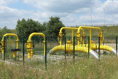Yellow gas pipe Stock Image