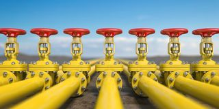 Yellow gas pipe line valves. Oil and gas extraction, production and transportation industrial background vector illustration