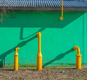 Yellow gas pipes Stock Photo