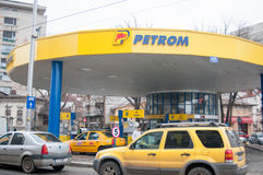 Yellow gas station. Petrom gas station on tunari street in bucharest romania stock images