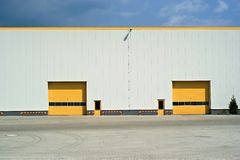 Yellow gate in industrial magazine Royalty Free Stock Image