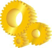 Yellow gears. Set of three yellow working gears Stock Photos