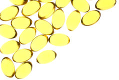 Yellow gel capsules Royalty Free Stock Image