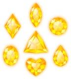 Yellow gems on white stock photo