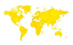 Yellow geometric blank world map. Modern style yellow geometric blank world map vector illustration