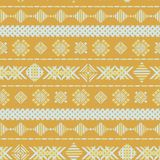 Yellow geometric embroidery seamless vector background texture vector illustration