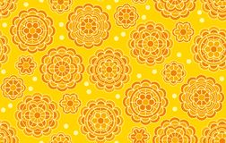 Yellow geometric floral pattern in Indian style. vector illustration