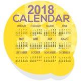 2018 Yellow Geometric Round Shape Printable Calendar   Stock Image