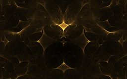 Yellow geometric shapes. Fractal abstract yellow geometric figures in a chaotic manner on a black background vector illustration