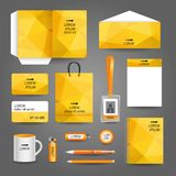 Yellow geometric technology business stationery. Template for corporate identity and branding set vector illustration stock illustration