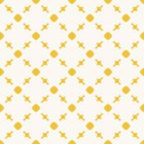 Yellow geometric seamless pattern with circles, squares, grid. Yellow geometric texture. Vintage seamless pattern with delicate grid, circles, squares, lines stock illustration