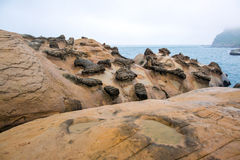 Yellow Geopark. Beach of rock formations at Yeliou Geopark, Taiwan Royalty Free Stock Photography