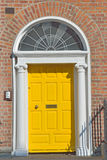 Yellow Georgian door in Dublin Ireland Royalty Free Stock Photo