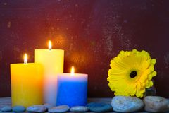 Yellow Gerbera And Candles. Still life with white, blue and yellow burning rustic candles, stones and yellow gerbera flower on old grungy background with copy Stock Photos