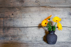 Yellow gerbera in a old vase on wooden background Royalty Free Stock Photos