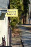 Yellow German traffic sign leaving the exit free stock photography