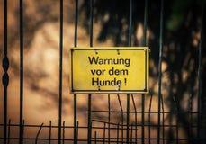 Yellow German warning sign Stock Photo