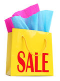 Yellow gift bag with red �SALE� superscription Royalty Free Stock Images