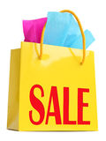 Yellow gift bag with red SALE superscription Stock Photo
