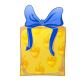 Yellow gift box with blue bow. And acorns wrapping paper. Holiday present raster illustration Royalty Free Stock Photo