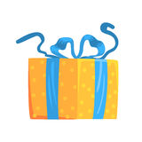 Yellow gift box with blue ribbon cartoon vector Illustration Royalty Free Stock Photos