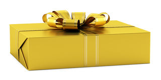 Yellow gift box with golden ribbon isolated on whi Royalty Free Stock Photos