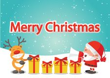 Yellow Gift box nearby Santa Claus and reindeer,behind are tree,. Snow decorate with ball,cartoon version, illustration Royalty Free Stock Photos