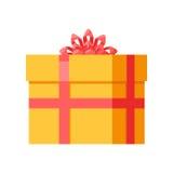 Yellow Gift Box with Orange Ribbon Bow Isolated Stock Image