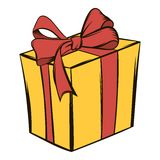 Yellow gift box with a red ribbon icon cartoon Royalty Free Stock Images