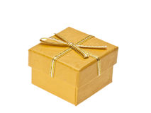 Yellow gift box with ribbon Royalty Free Stock Photography